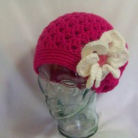 Crochet Shelly Shell Slouchy Beanie Hot Pink - Handmade Hat Crochet Flower Slouchy Beanie Hat Tam Crochet Beret Winter Fall Women Teen Gift