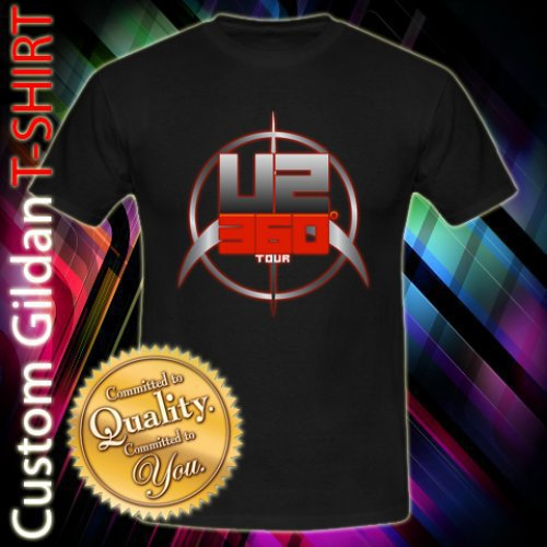 U2 360 Tour Rock Band Logo Custom Black T-Shirt Size S-2XL