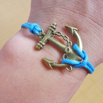 Anchor wrist bracelet women bracelet girls bracelet ropes bracelet jewelry bangle made of ancient anchor and blue ropes cuff  SH-2035
