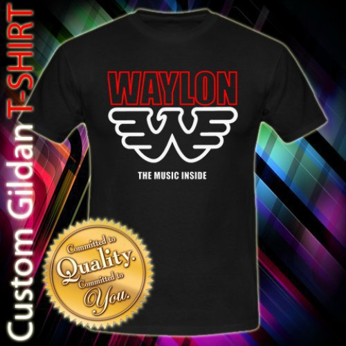 Waylon Jennings The Music Inside Custom Black T-Shirt Size S-2XL