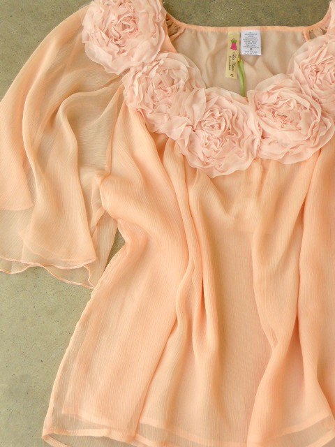 Gathered Sweet Rosette Blouse [2588] - $32.00 : Vintage Inspired Clothing & Affordable Summer Dresses, deloom | Modern. Vintage. Crafted.