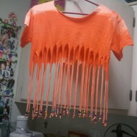 Monique's Fun Accessories | Orange Beaded Fringe T-Shirt (Medium) | Online Store Powered by Storenvy