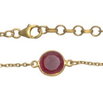 Gold Plated Bracelet with Red Ropada Stones