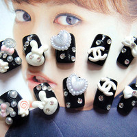 Fake japan gyaru cute Nails.kawaii DIY fake nails.for every princess