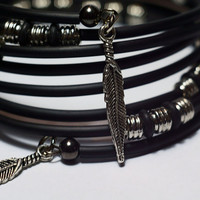 Funky gothic wrap bracelet - silver and black memory wire rubber bracelet fashion wrist wrap