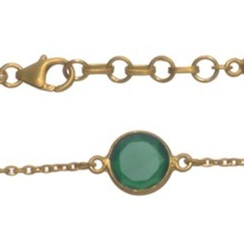 Gold Plated Bracelet with Green Ropada