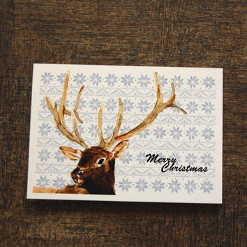 Elk and fair isle Christmas cards, Set of 4 retro style cards, Holiday cards, woodland cards,