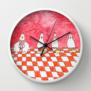 The Tale's Hens Wall Clock by Timone | Society6