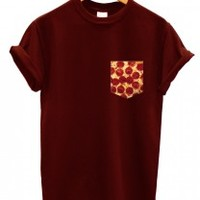 Pizza print pocket t shirt