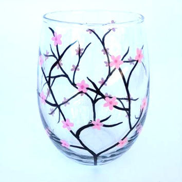 Cherry Blossom Spring hand paintedstemless wine glass