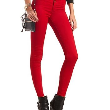 "Refuge ""Hi-Waist Super Skinny"" Colored Jeans by Charlotte Russe - Red"