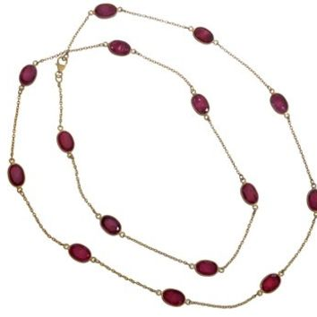 Gold Plated Necklace with Red Ropada Stones