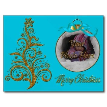 Postcard Whimsy Christmas Tree-Aqua