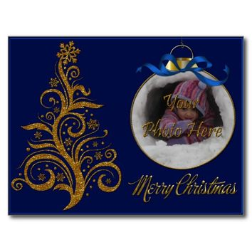 Postcard Whimsy Christmas Tree-Blue