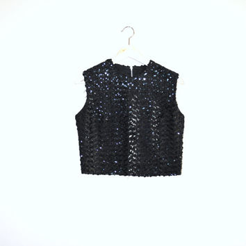 1950s sequin tank top / vintage 50s Irving Nadler shiny black sleeveless blouse medium