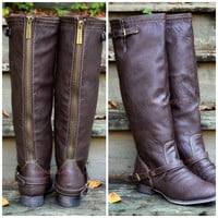 Montana Maple Light Brown Strap Riding Boots