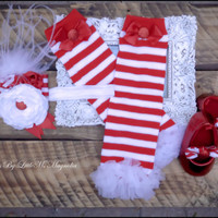 """Christmas Headband Leg Warmer and Shoes Set """"Holly Jolly"""" Photo shoot for baby girls toddler girls"""