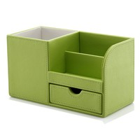 KINGFOM™ Wooden Struction Leather Multi-function Desk Stationery Organizer Storage Box Pen/Pencil ,Cell phone, Business Name Cards Remote Control Holder Colors (green)