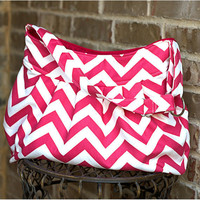 The Shopper in Pink Chevron, Diaper Bag, School Bag, or Purse.