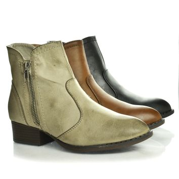 Connect Western Inspired Pointed Toe Zip Up Stacked Block Heel Ankle Boot
