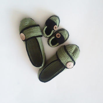 Mother and Son Booties Set / Green Slippers / Mother's day Gifts / Gifts for new Moms