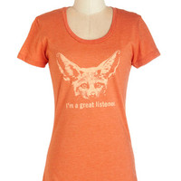 ModCloth Quirky Mid-length Short Sleeves I'm All Ears Tee