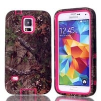 MagicSky Plastic + TPU Tuff Dual Layer Hybrid Snug Fit Slim Camo Pattern Case for Samsung Galaxy S5 SV - 1 Pack - Retail Packaging - Hot Pink