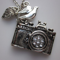 Camera Necklace with Bird and Leaf Charms