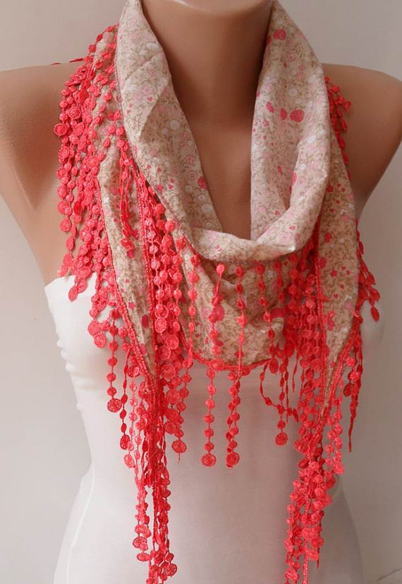Salmon Scarf with Salmon Trim Edge