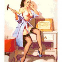 Handmade Vintage Retro Pin-Up Girl w. Hammer PDF Cross-Stitch Pattern