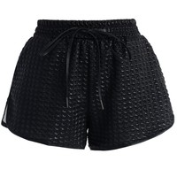 Black Shimmer Houndstooth Shorts Black S/M