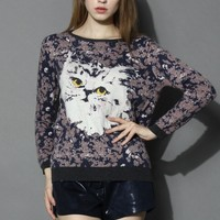 Cute Kitty Knitted Sweater Multi S/M