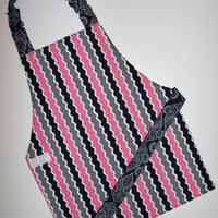 Striped apron Pink and black apron Reversible apron Montessori apron Child apron