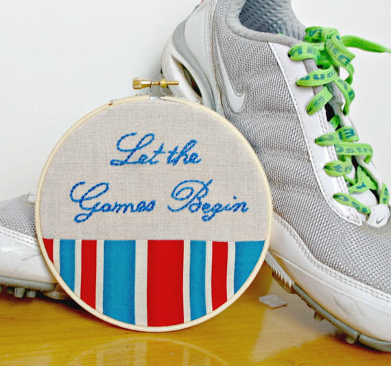 Let the Games Begin Hoop Art Hand Embroidery Olympics Hunger Games London Stripe