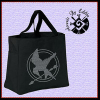 The ORIGINAL Hunger Games Inspired Mockingjay Sturdy Rhinestone Tote Bag (your choice of color) Great Gift for ALL fans
