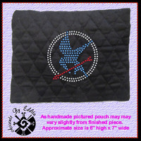 The Original Hunger Games Inspired MOCKINGJAY Sparkly Rhinestone Zippered Pouch Great for Cosmetics School Supplies Cell Phones ETC