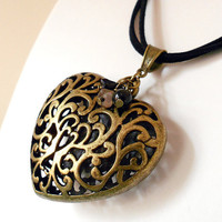 Vintage Inspired Heart Necklace in Antique Brass with Czech Glass Flowers, Swarovski Pearls & Black Suede Cord from the Vintage Garden