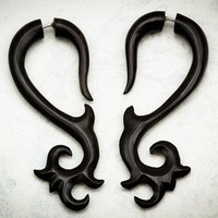 Tree Top Curls Black Wood Fake Gauges by TribalStyle on Etsy