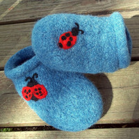 Felt Clogs Orchid with Ladybug
