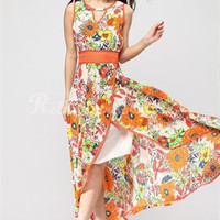 Chic A-line Flower Straps Tea Length Cotton Cocktail Dress-$99.95-ReliableTrustStore.com