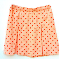 Girls Skirt- Pink Polka Dot with Kick Pleats Made from Vintage Fabric
