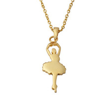 Gold Ballerina necklace in solid sterling silver (Dancing Ballerina charm )