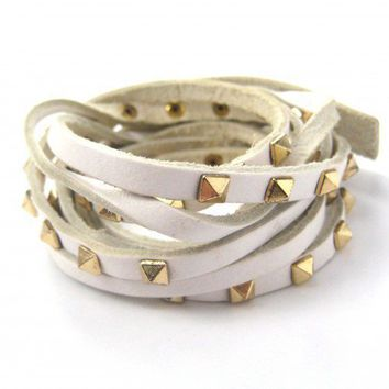 SALE - Rocker Chic White Bracelet with Gold Studs - 3 Adjustable sizes
