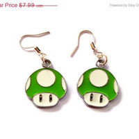 Mario Mushroom Earrings, Green Enamel mushroom charm earrings