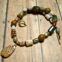 Ocean and African Jasper 18 inch Necklace with Turtle Jasper Pendant