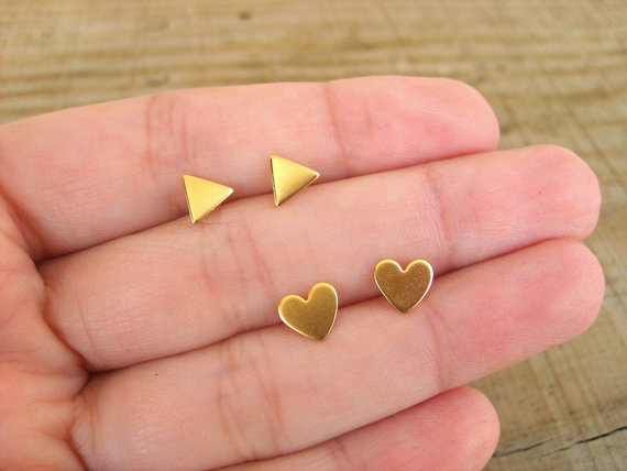 Two pair set : lovely little gold studs earrings,  hearts and triangles studs , gold stud earrings