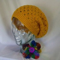 Crochet Shelly Shell Slouchy Beanie Mustard Yellow Handmade Crochet Hat Crochet Slouchy Beanie Crochet Tam Beret for Winter Fall Women