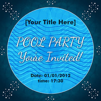Pool Party Invitation - Card Design - Printable File