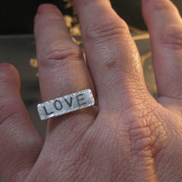 Personalized ring, hand stamped sterling silver  love word ring, personalized jewelry