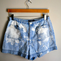 white spotted light blue summer shorts